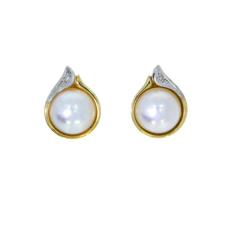 Ohrstecker; Mabe Pearl, Diamant; bicolor